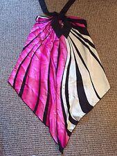 Tfnc Pink Black Ivory Silky Halter Neck Dress Top Floaty Size 10 Excellent Condi