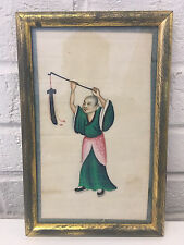 Antique Chinese Pith Rice Paper Painting Woman Holding Rod w/ Garment or Textile