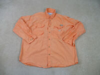 Columbia Button Up Shirt Adult Extra Large Orange PFG Long Sleeve Mens B35*
