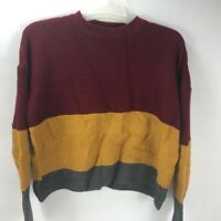 Shein Womens Pullover Knit Long Sleeve Color Block Sweater Red Yellow Gray M