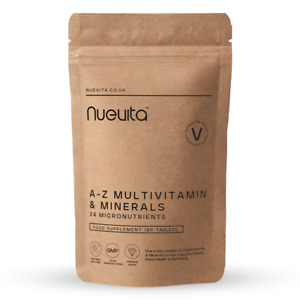 Multi Vitamins & Minerals A-Z Tablets 100% RDA - 180 Vegan Tablets - One A Day