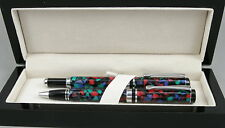 Beautiful Stained Glass Resin & Chrome Fountain Pen & Ballpoint Pen In Box - New