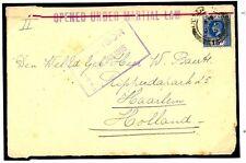 W348 1915CEYLON WW1 Censor Selvedge Martial Law Handstamp/Haarlem
