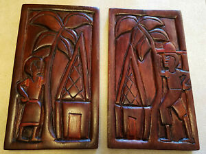 """2 Tropical Wood Relief Carved Story Board Man Woman House Palm Tree 10"""" Tall"""