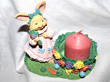 """Estate=Easter 4-1/2"""" tall Resin Candle Holder Girl Bunny Pink New Candle Look"""