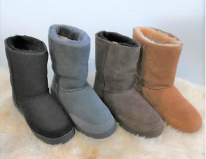 UGG 3/4 Rubber Grip-sole Unisex Australian shearling Sheepskins 4Color Size4-10