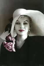 Marilyn Monroe White Sun Hat Poster 24 x 36 with Pink Flower New