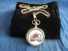 COLORADO AVALANCHE NHL ICE HOCKEY CHROME POCKET WATCH WITH CHAIN (NEW)