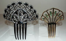 Lot of 2 Vintage Hair Combs - Black & Crystal Stone and Green Stone