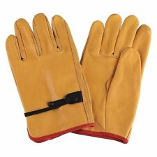 CONDOR Cowhide Leather Driver's Gloves with Cinch Cuff, Yellow, L (3B5-001*A)