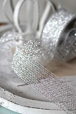 (0,55€/m)  Dekoband Silbergitter 40mm Silber Lurex Tischband Weihnacht Kranzband