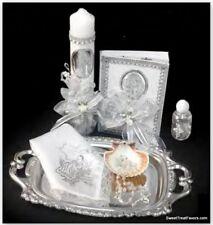 Spanish Virgen Handmade Christening/Baptism Set Candle Rosary Bautizo Virgencita