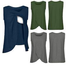 Women Maternity Nursing Wrap Top Cap Sleeveless Double Layer Blouse T Shirt Vest