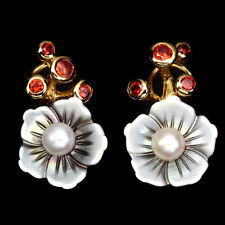 Ohrringe Granat Perle Perlmutt 925 Silber 585 Gelbgold vergoldet
