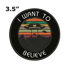Xfiles I Want To Believe Aliens Vintage Retro Style Iron on Patch Applique 1990s