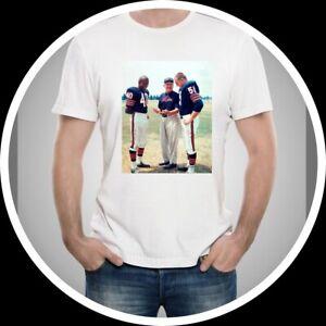 Chicago Bears Gale Sayers Dick Butkus White T-Shirt 100% Cotton men sz XL NEW