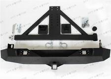 For 07-16 Jeep Wrangler JK Rock Crawler Rear Bumper W/2 LED Lights &Tire Carrier
