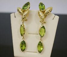 18carat Yellow Gold 24ct Marquise Peridot & Diamond 0.50ct Drop Earrings