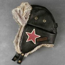 Men Winter Leather Aviator Warm Earflap Hiking Ski Hat Cap Outdoor Fur Lined New