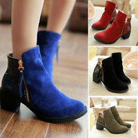 Women Martin Ankle Boots Autumn Winter Suede Leather Thick Heel Side Zip Shoes#