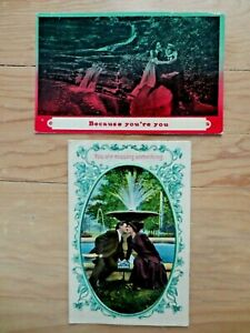 (2) Early 1900s Romance Couples Water Fall Because You're You Postcards Posted