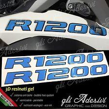 2 Adesivi Serbatoio Moto BMW R 1200 gs adventure LC 280 x 30 mm 3D AZZURRO NERO