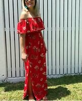 NEW LADIES OFF THE SHOULDER MAXI DRESS FLORAL PRINT WITH SPLITS-RED SIZE8-14/16