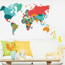 Colorful World Map Wall Sticker Painting Living Room Children Bedroom Decor Gift