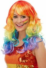 Rainbow Glam Wig Multi Coloured Fancy Dress Pride Parade Party