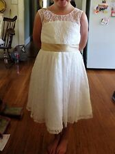 Flower girl dress ivory size 8 with champagne sash
