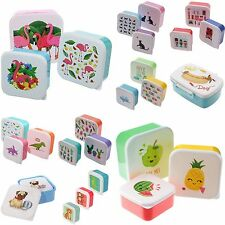 Set Of 3 Childrens Kids Plastic Snack Lunch Boxes Sandwich Food Storage Box