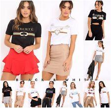 Ladies Celebrity Perfect, Queen, Bonjour, Guilty, FEMME Slogan T Shirt Top