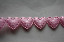 2 Metres x 10mm wide PALE PINK PADDED HEART RIBBON  -  BABIES BRIDAL CRAFT