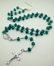 Rosary Faith INRI Malachite green Crystal Beaded cross Pendants Clasp Necklaces