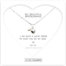 Bridesmaid gift & pearl & heart silver necklace & gift bag, wedding