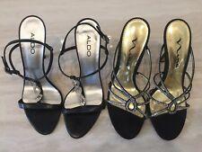 Lot 2 crystal evening heels womens black dress shoes size 8 aldo Nina