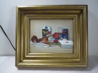 Vintage Still Life Watercolor with Pipes, Cards, Poker Chip Signed Edith M Brigg