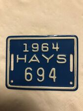 Vintage 1964 Hays KS bicycle tag license plate 694