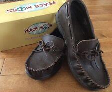 Men's Peace Moccasin Shoes Dan Wide Brown 9 W Pebble Grain Leather Nice NIB