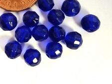 100 Pcs 6mm Crystal Glass Faceted Round Beads - Cobalt Blue - A3514