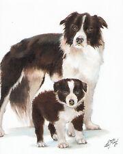 Original Oil Art BORDER COLLIE Portrait Painting PUPPY SHEEPDOG Signed Artwork