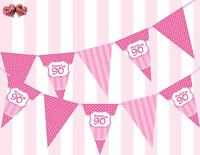 Perfect Pink Happy 90th Birthday Vintage Polka Dots Stripes Theme Bunting Banner