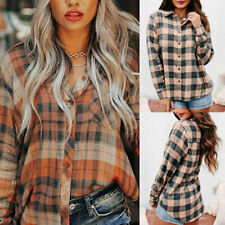 Women Plaid Long Sleeve Tops Casual Shirts Blouse Loose Button V Neck Tees Soft