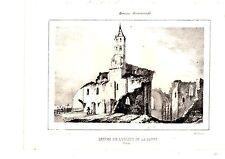 LITHOGRAPHIE GUIENNE MONUMENTALE 19è RUINES ABBAYE DE LA SAUVE PRES CREON GIROND