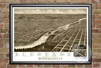 Vintage Minneapolis, MN Map 1879 - Historic Minnesota Art - Victorian Industrial