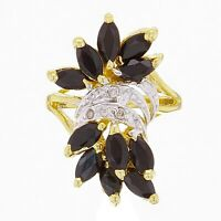 14k Yellow Gold Sapphire & Diamond Accent Floral & Vine Cluster Ring Size 5.5