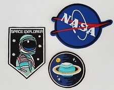 Planet Nasa Space explorer astronaut 3 pack Iron On Patch Sew on Transfer Badge