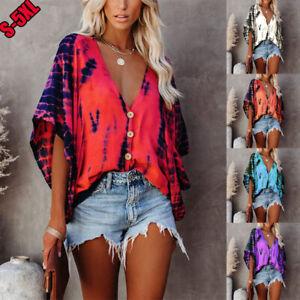 Tie Dye Print Women Batwing Sleeve Blouse Loose Fit Tees T-shirts Summer Tops