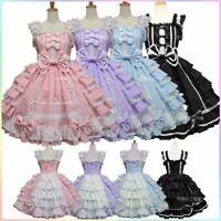 Vintage Lolita Princess Dress Girls Sleeveless Ruffle Bow Dress With Headband