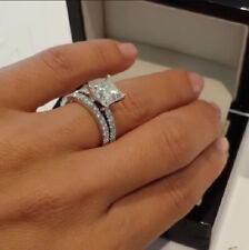 White Princess Cut Diamond 2.50ct 14K Gold Engagement Bridal Ring Certified Over